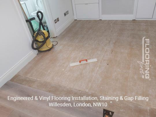 Engineered & vinyl flooring installation, staining & gap filling in Willesden 1