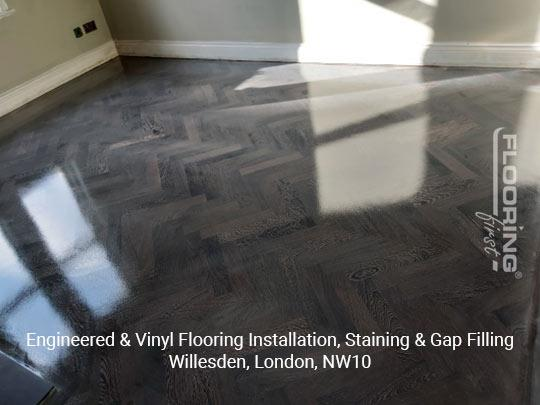 Engineered & vinyl flooring installation, staining & gap filling in Willesden 8