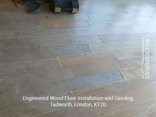 Engineered wood floor fitting and sanding in Tadworth 1