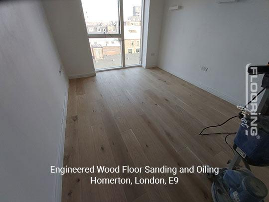 Engineered wood floor sanding and oiling in Homerton