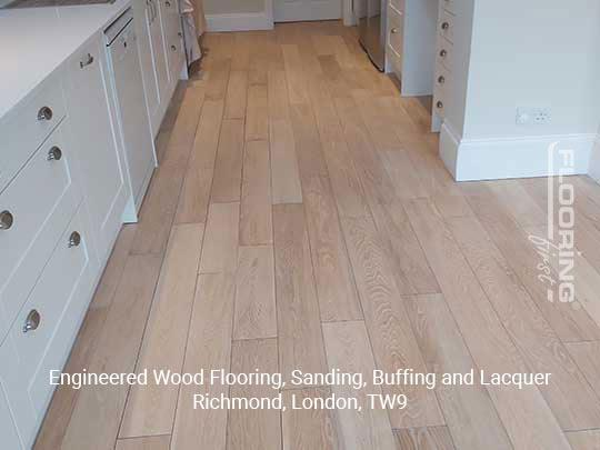 Engineered wood flooring, sanding, buffing and lacquer in Richmond