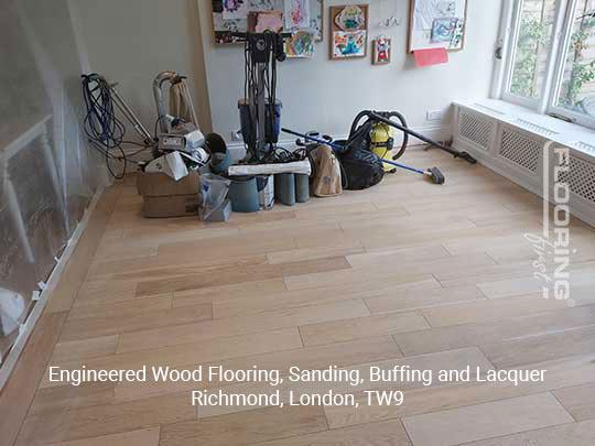 Engineered wood flooring, sanding, buffing and lacquer in Richmond 1