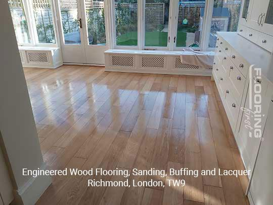 Engineered wood flooring, sanding, buffing and lacquer in Richmond 4
