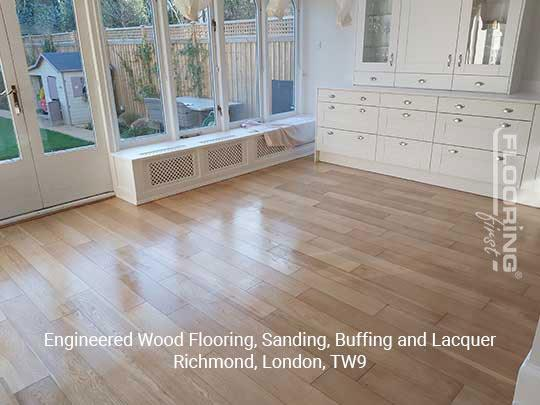 Engineered wood flooring, sanding, buffing and lacquer in Richmond 6