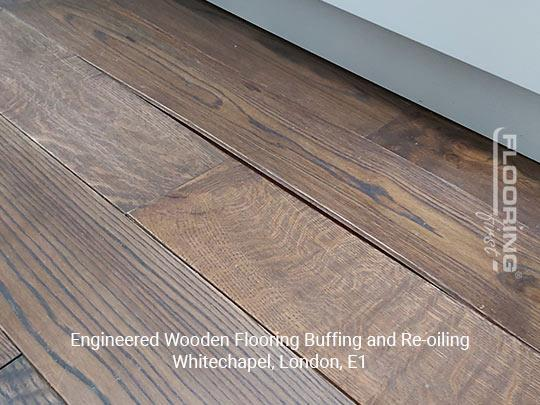 Engineered wooden flooring buffing and re-oiling in Whitechapel