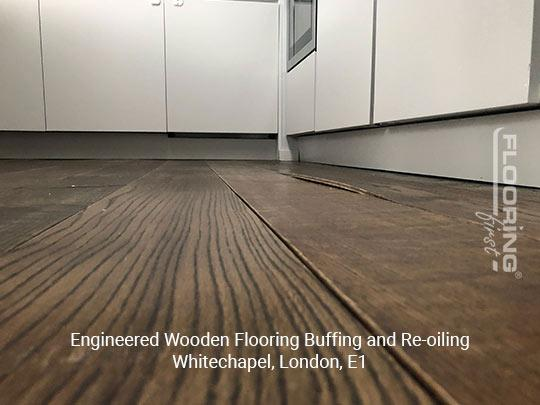 Engineered wooden flooring buffing and re-oiling in Whitechapel 1