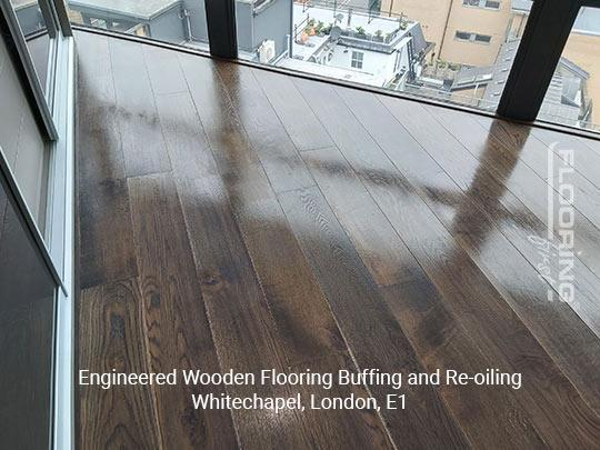 Engineered wooden flooring buffing and re-oiling in Whitechapel 6