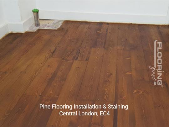 Installation and staining of pine flooring in Central London