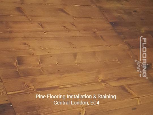 Installation and staining of pine flooring in Central London 1