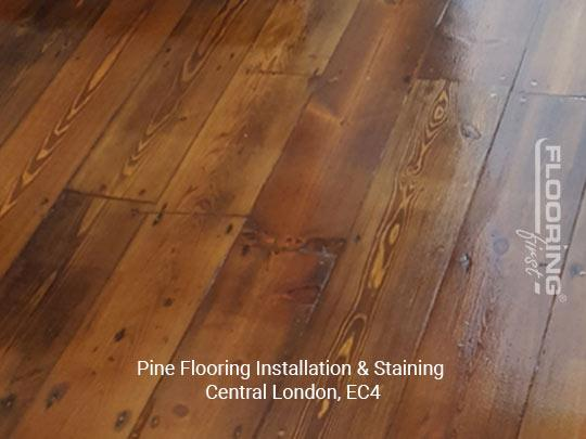 Installation and staining of pine flooring in Central London 2
