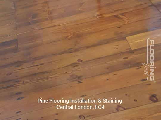 Installation and staining of pine flooring in Central London 3
