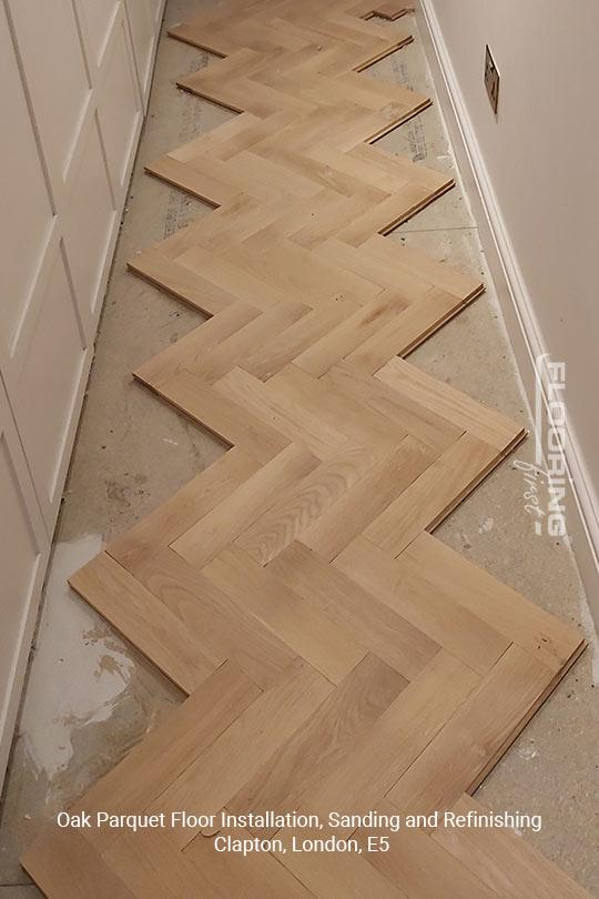 Oak parquet floor installation, sanding and refinishing in Clapton, E5