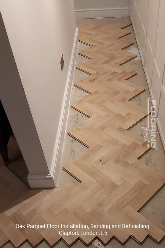 Oak parquet floor installation, sanding and refinishing in Clapton, E5 1