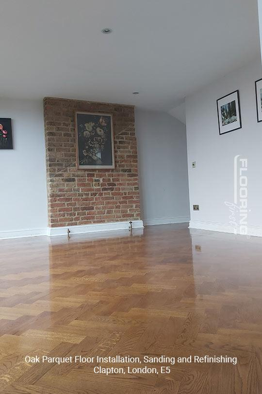 Oak parquet floor installation, sanding and refinishing in Clapton, E5 13