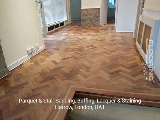 Parquet & stairs sanding, buffing, lacquer & staining in Harrow 8