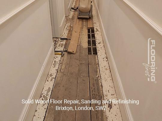 Solid wood floor repair, sanding and refinishing in Brixton