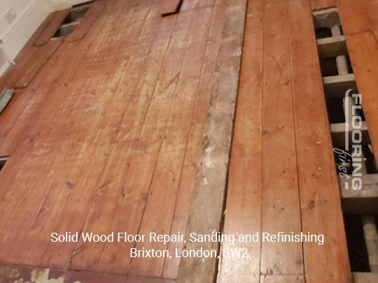 Solid wood floor repair, sanding and refinishing in Brixton 1