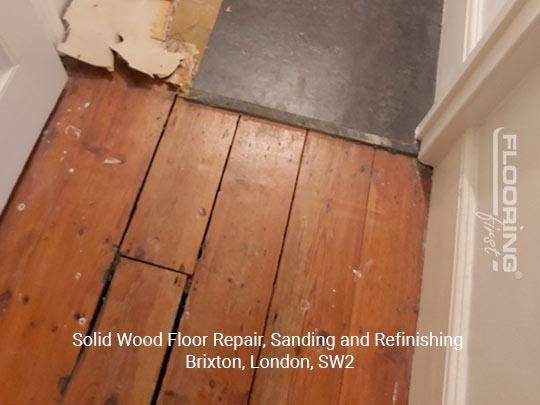 Solid wood floor repair, sanding and refinishing in Brixton 2