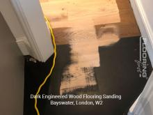 Dark engineered wood flooring sanding in Bayswater 1