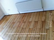 Floorboards renovation with repairs and fireplace heart extension in Barnet 1