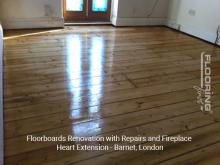 Floorboards renovation with repairs and fireplace heart extension in Barnet 2
