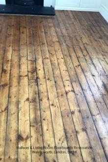Hallway and living room floorboards restoration in Wandsworth