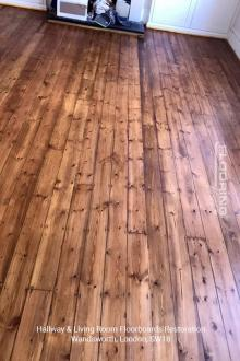 Hallway and living room floorboards restoration in Wandsworth 2
