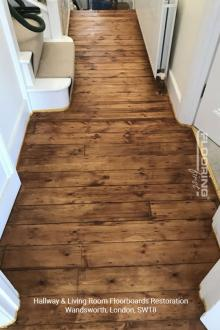 Hallway and living room floorboards restoration in Wandsworth 3