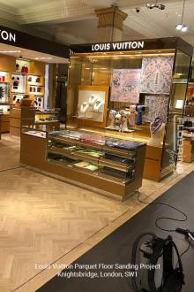 Louis Vuitton floor sanding project in Knightsbridge