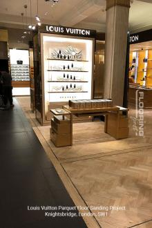 Louis Vuitton floor sanding project in Knightsbridge 1