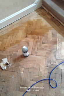 Parquet flooring restoration in North London 1