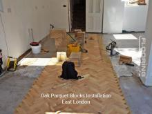 Oak parquet blocks installation in East London 1