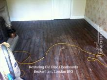 Restoring old pine floorboards in Beckenham