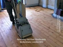 Restoring old pine floorboards in Beckenham 1