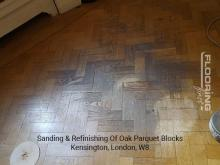 Sanding & refinishing of oak parquet blocks in Kensington