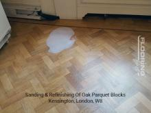 Sanding & refinishing of oak parquet blocks in Kensington 1