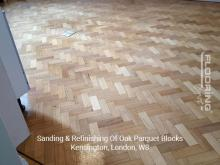 Sanding & refinishing of oak parquet blocks in Kensington 2