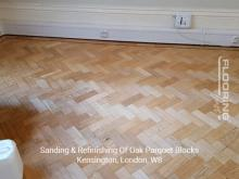 Sanding & refinishing of oak parquet blocks in Kensington 3