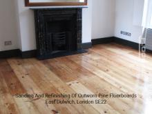 Sanding and refinishing of outworn pine floorboards in Dulwich 2