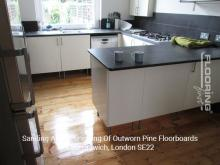 Sanding and refinishing of outworn pine floorboards in Dulwich 4
