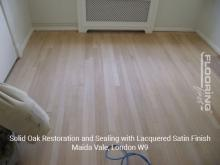Solid oak restoration and sealing with lacquered satin finish in Maida Vale 1