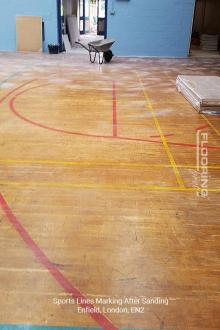 Sports lines marking after sanding in Enfield