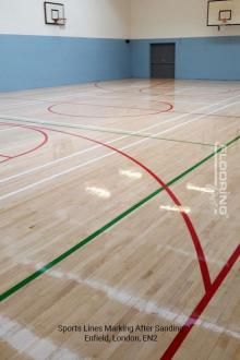 Sports lines marking after sanding in Enfield 3