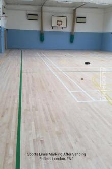 Sports lines marking after sanding in Enfield 4