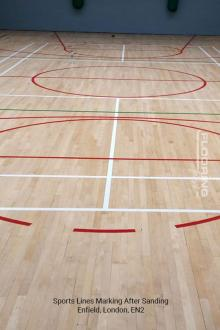Sports lines marking after sanding in Enfield 5