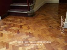 Teak and pine parquet floor sanding in Acton