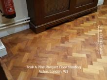 Teak and pine parquet floor sanding in Acton 1