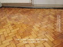 Teak and pine parquet floor sanding in Acton 2