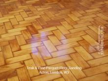 Teak and pine parquet floor sanding in Acton 3