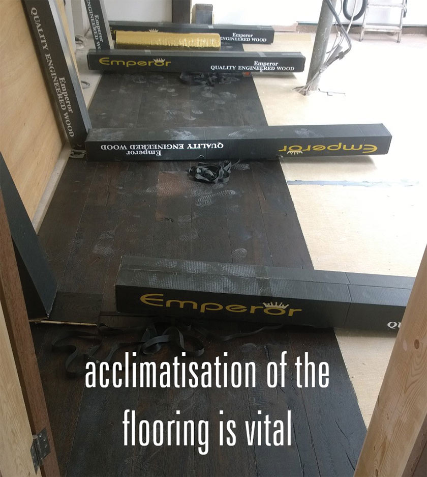 acclimatise the flooring before fitting it